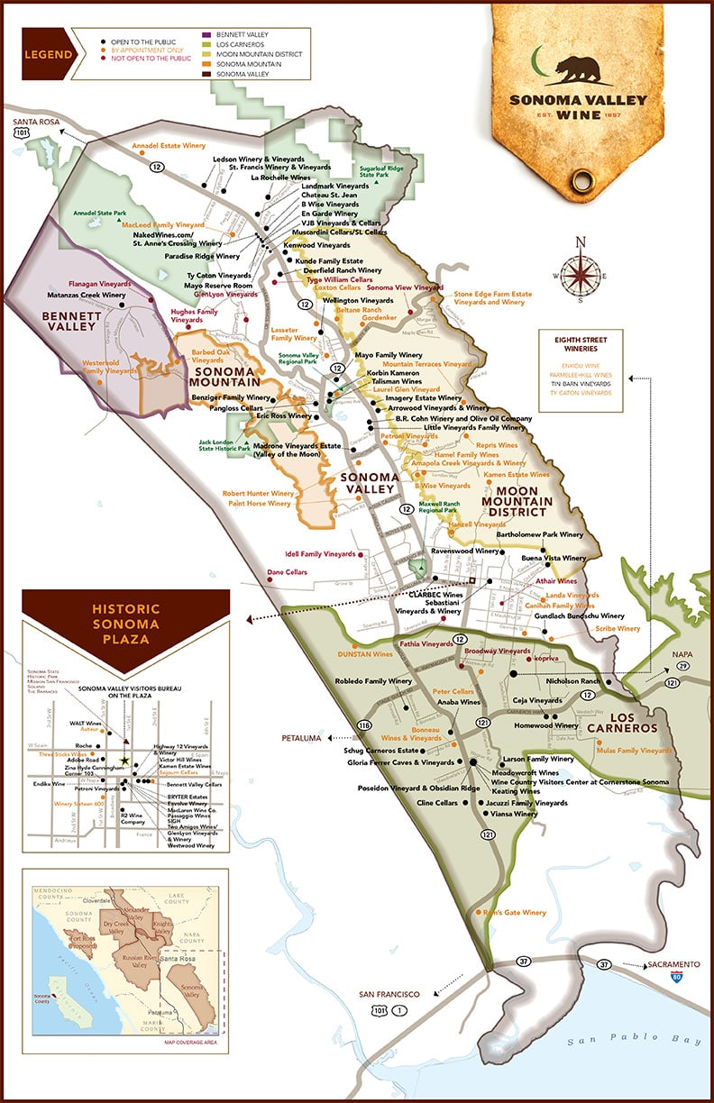 Sonoma Valley Map Simply Driven